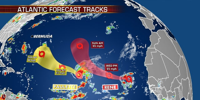 The forecast trail of the tropical storms Paulette and Rene.