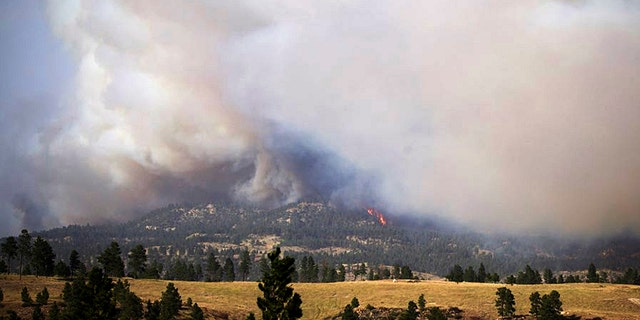 A wildfire burns southeast of Roundup near Klein, Mont., on Wednesday, Sept. 2, 2020.