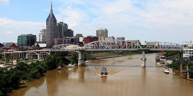 The Korean War Veterans Memorial Bridge offers views of downtown Nashville.
