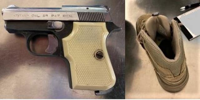 "This .25 caliber handgun was ""artfully concealed"" in this shoe, according to the TSA. (Transportation Security Administration)"