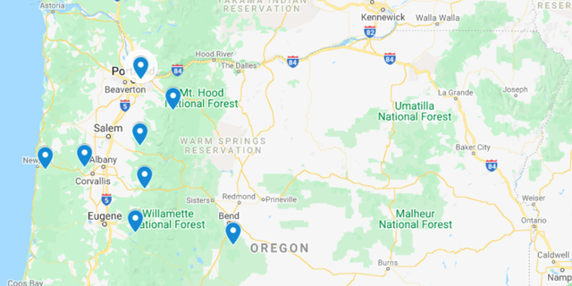 This map details the areas that the Salvation Army has been covering throughout Western Oregon, Southern Oregon and part of Central Oregon.