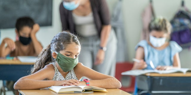 12-year-old girl wearing a reusable, protective face mask in classroom. (iStock)