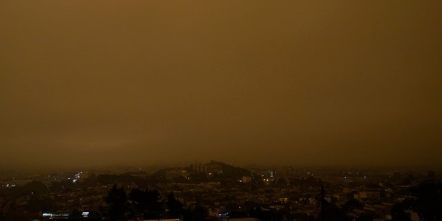 Wildfire smoke obscures the sky in the morning over San Francisco, Wednesday, Sept. 9, 2020.