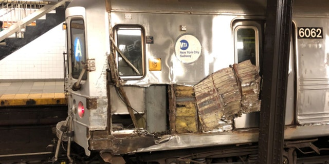 A subway train in New York City derailed after striking debris on the tracks in Manhattan on Sept. 20, 2020.