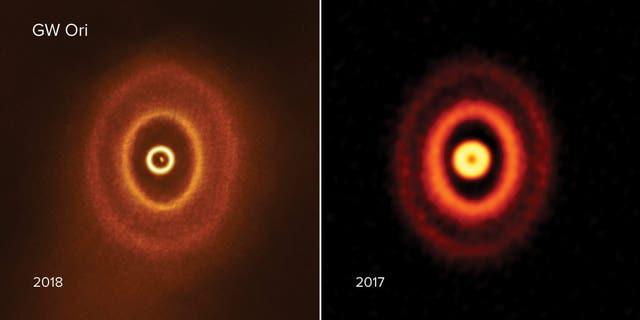 GW Orionis Credit: ALMA (ESO/NAOJ/NRAO), S. Kraus & J. Bi; NRAO/AUI/NSF, S. Dagnello