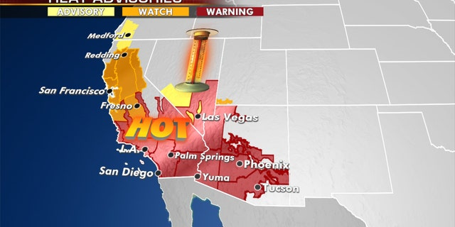 Heat warnings and advisories stretch across the West.
