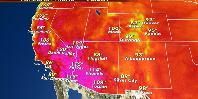 Forecast high temperatures for Friday, Sept. 4, 2020.