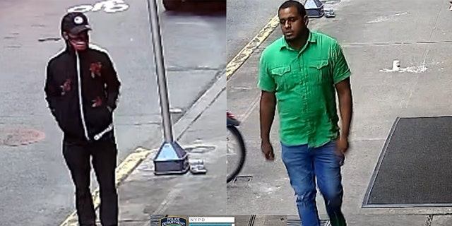 The suspects in an incident in which a man was stabbed in the back and robbed of $6,000 in designer goods near Times Square. (NYPD/DCPI)