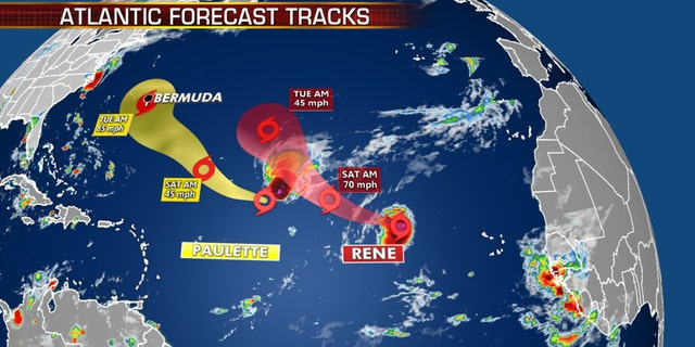 The forecast tracks of Tropical Storms Paulette and Rene.