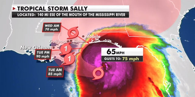 The forecast track of Tropical Storm Sally.