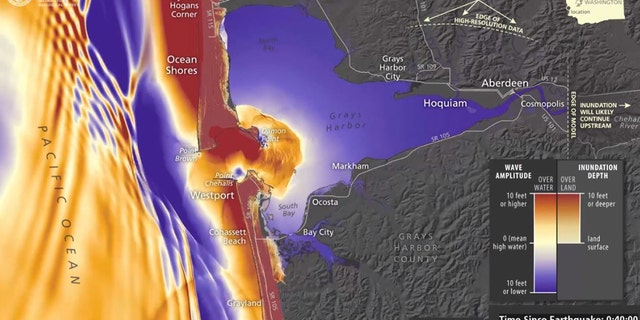 How a tsunami could impact Grays Harbor, Wash. less than an hour after a major earthquake off the coast of Washington.
