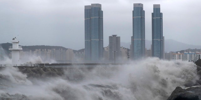 High waves crash shore as Typhoon Haishen approaches in Busan, South Korea, Monday, Sept. 7, 2020.