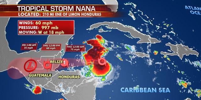 The forecast track of Tropical Storm Nana.