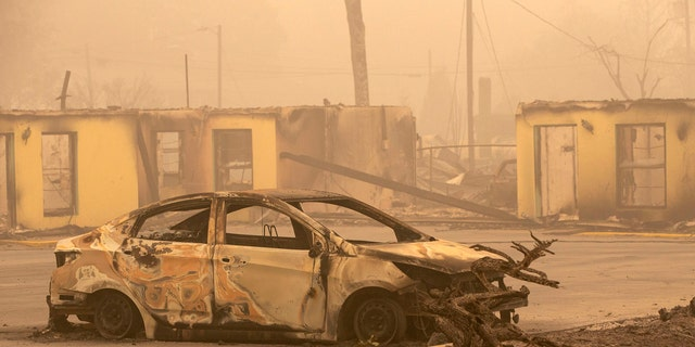 The Oak Park Motel was destroyed by the flames of the Beachie Creek Fire east of Salem, Ore., Sunday, Sept. 13, 2020.