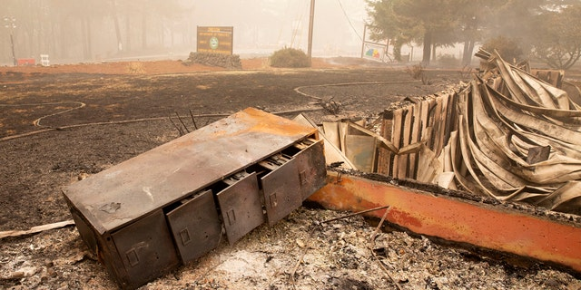 Flames from the Beachie Creek Fire destroyed the Oregon Department of Forestry, North Cascade District Office in Lyons, Ore., Sunday, Sept. 13, 2020.