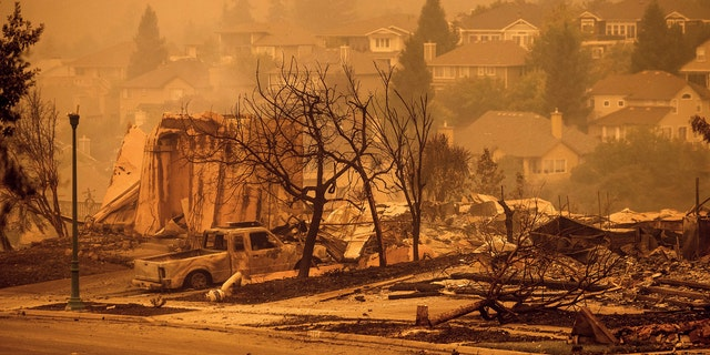 Homes leveled by the Glass Fire line a street in the Skyhawk neighborhood of Santa Rosa, Calif., on Monday, Sept. 28, 2020.