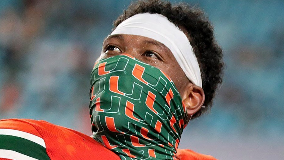 Miami's Brevin Jordan hurdles defender, sets up Hurricanes score