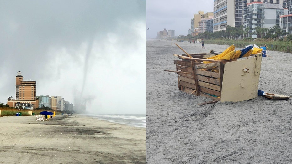 Tornado touches down on Myrtle Beach oceanfront, sends beach chairs flying