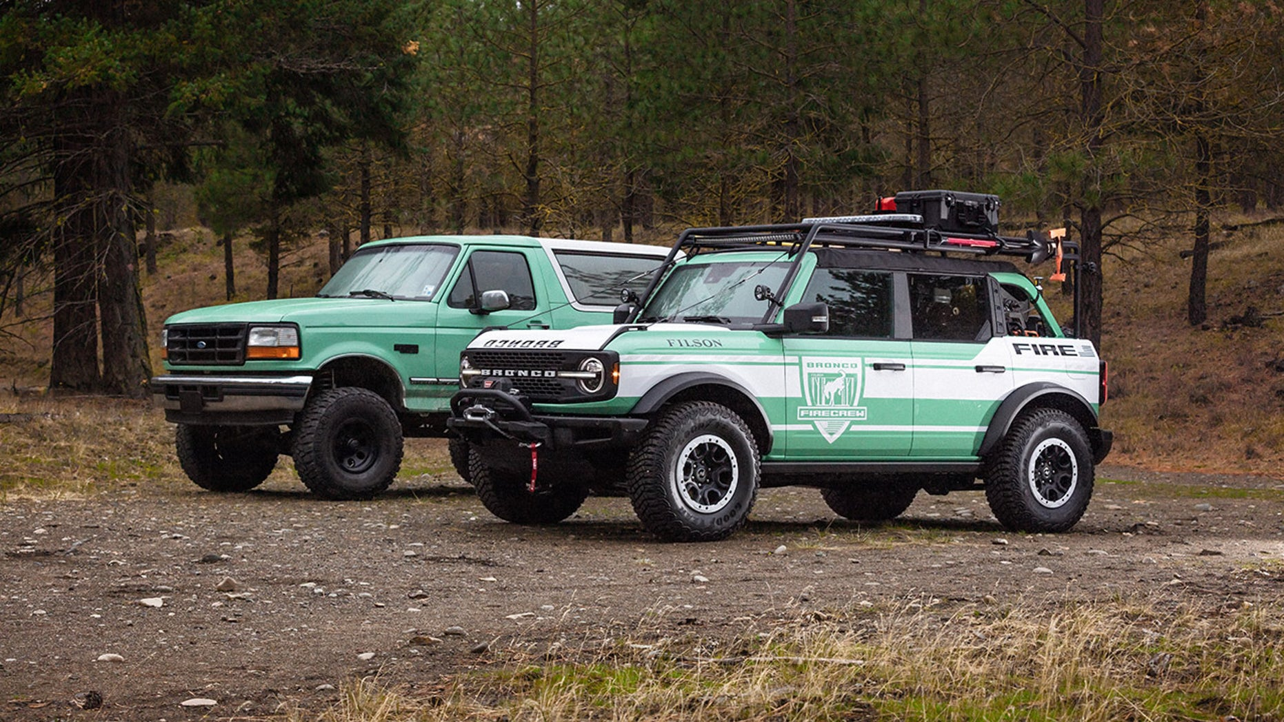 2 custom Ford Bronco firetrucks