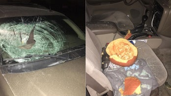 Pumpkin tossed off Indiana overpass smashes car windshield, narrowly misses college student