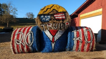 Pro-Trump hay bale sculpture crops up after Tennesee man's traditional signs were cut down