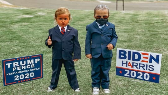 Twin girls, 4, wear Trump, Biden costumes for Halloween