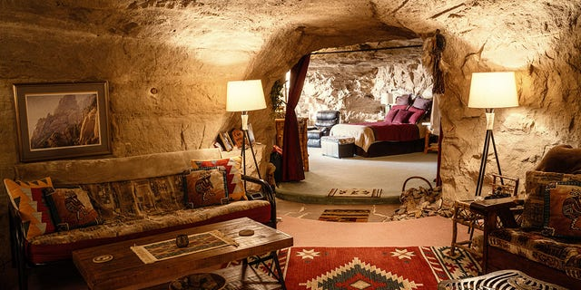 This man-made cave 50 feet underground is up for rent as a vacation home. (Hotels.com)
