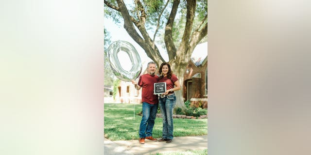 With the house to themselves after three decades, the parents went all-out for the lighthearted portrait session outside the family home in Pharr.