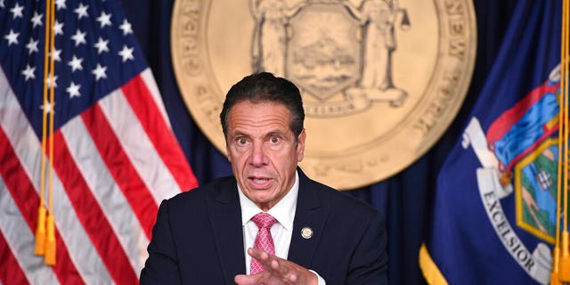 In this September 29, 2020 file photo shared by New York Governor Andrew M. Cuomo, Governor Cuomo delivers a COVID-19 update during a briefing in New York City.  (Kevin P. Coughlin / Office of Governor Andrew M. Cuomo via AP, file)