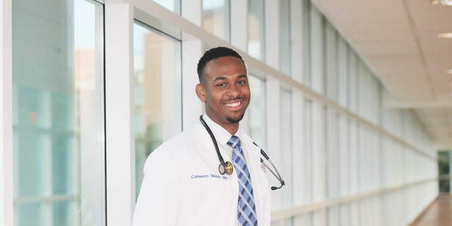 U.S. House candidate Dr. Cameron Webb regularly takes time off from the campaign trail to work hospital shifts and teach his students at the University of Virginia's School of Medicine.