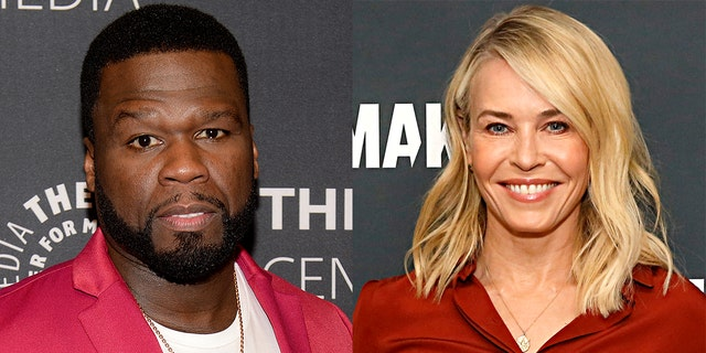 50 Cent (left) and Chelsea Handler (right), dated earlier.  Until he declared his support for Donald Trump, 50 Cent was