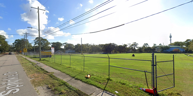 The youth football field in Jacksonville where a man and his son were struck by gunfire Sunday evening. The boy was injuried; his father was killed.