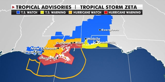 Hurricane and tropical storm warnings have been posted in advance of Zeta.