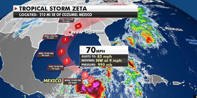 The forecast track of Tropical Storm Zeta.