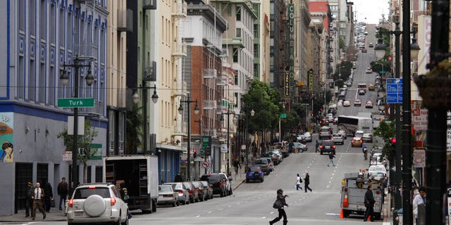 FILE: A view looking up Taylor Street of the Tenderloin neighborhood in San Francisco.