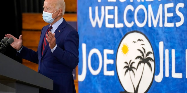 Democratic presidential candidate former Vice President Joe Biden speaks at Jose Marti Gym, Monday, Oct. 5, 2020, in Miami. (AP Photo/Andrew Harnik)