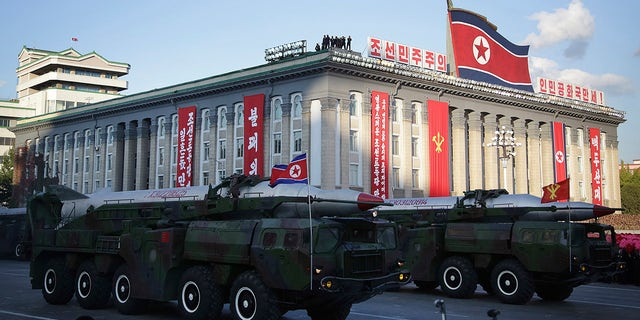 In this Oct. 10, 2015, photo, warheads are paraded during a military parade during celebrations to mark the 70th anniversary of North Korea's Workers' Party in Pyongyang, North Korea. (AP Photo/Wong Maye-E, File)