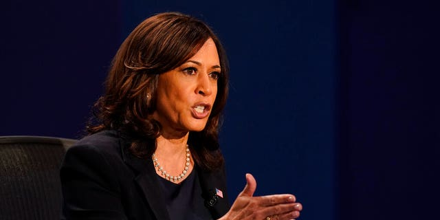 Democratic vice presidential candidate Sen. Kamala Harris, D-Calif., makes a point during the vice presidential debate with Vice President Mike Pence Wednesday, Oct. 7, 2020, at Kingsbury Hall on the campus of the University of Utah in Salt Lake City. (Associated Press)