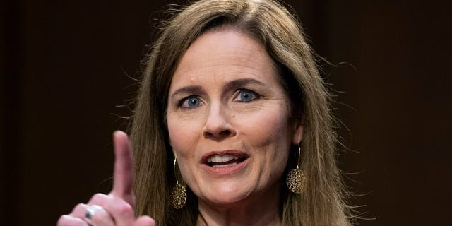 Supreme Court nominee Amy Coney Barrett speaks during her confirmation hearing before the Senate Judiciary Committee on Capitol Hill in Washington, Tuesday, Oct. 13, 2020. (Tom Williams/Pool via AP)