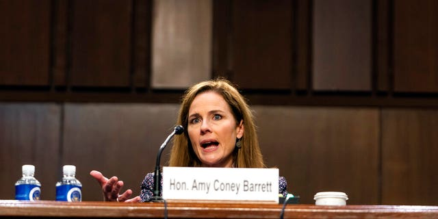 Supreme Court nominee Amy Coney Barrett speaks during a confirmation hearing before the Senate Judiciary Committee, Wednesday, Oct. 14, 2020, on Capitol Hill in Washington. (Demetrius Freeman/The Washington Post via AP, Pool)