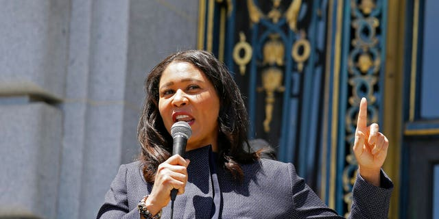 In this June 1, 2020, file photo, San Francisco Mayor London Breed speaks outside City Hall in San Francisco. (AP Photo/Eric Risberg, File)