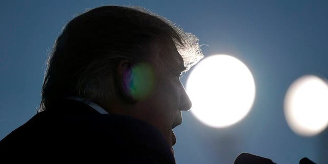 President Trump speaks at a campaign rally at Carson City Airport, Sunday, Oct. 18, 2020, in Carson City, Nev. (AP Photo/Alex Brandon)