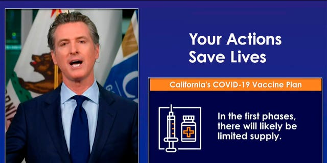 In this image taken from a live-streamed video from the California Governor's Office, California Gov. Gavin Newsom talks during a news conference on Monday, Oct. 19, 2020, in Sacramento, Calif.