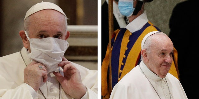 In this combo picture, Pope Francis adjusts his face mask as he attends an inter-religious ceremony for peace in Rome Tuesday, and arrives for his general audience at the Vatican without mask Wednesday, Oct. 21, 2020.  (AP Photo/Gregorio Borgia)