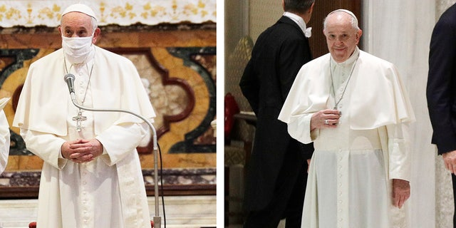 In this combo photo, Pope Francis attends an inter-religious ceremony for peace, wears a face mask in Rome on Tuesday, and arrives at the Vatican on Wednesday, October 21, 2020 for his general audience.  The day after donating the face mask.  For the first time during an obstetric service, Pope Francis had returned to his mask-less old ways during his general audience at the Vatican, despite a coronovirus infection throughout Europe.  (AP Photo / Gregorio Borgia)
