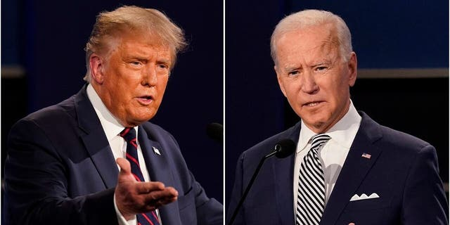 This combination of Sept. 29, file photos shows President Donald Trump, 剩下, and former Vice President Joe Biden during the first presidential debate at Case Western University and Cleveland Clinic, in Cleveland, 俄亥俄. (美联社照片/ Patrick Semansky, 文件)