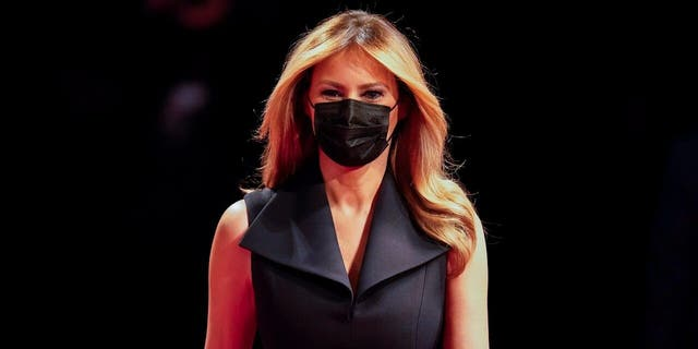 First lady Melania Trump arriving before the start of the second and final presidential debate Thursday, Oct. 22, 2020, at Belmont University in Nashville, Tenn. (AP Photo/Julio Cortez)