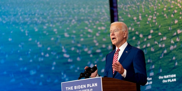 Democratic presidential candidate former Vice President Joe Biden speaks about coronavirus at The Queen theater in Wilmington, Del., Friday, Oct. 23, 2020. (AP Photo/Andrew Harnik)