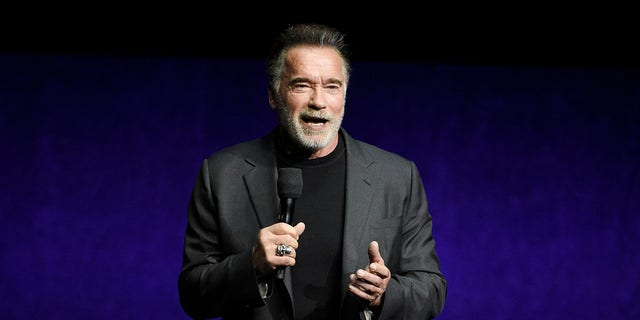 Arnold Schwarzenegger is seen at CinemaCon in Las Vegas, April 4, 2019. (Associated Press)