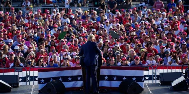 President Donald Trump speaks during a campaign rally at The Villages Polo Club, Friday, Oct. 23, 2020, in The Villages, Fla. (AP Photo/Evan Vucci)